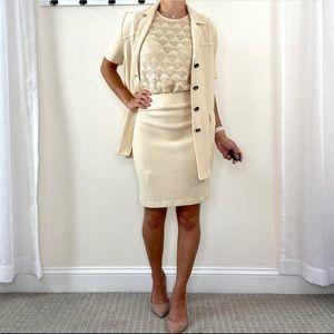 St. John Santana Knit Skirt & Blazer 2 Piece Set